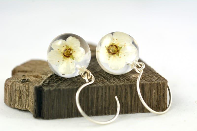 Kolczyki z białymi kwiatuszkami tawuły (Spirea sp.)