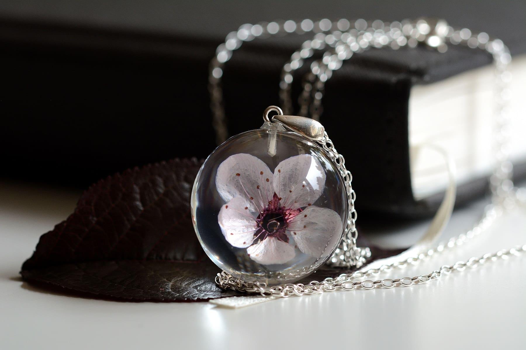 Wisior z różowym kwiatem wiśni (Prunus sp.)