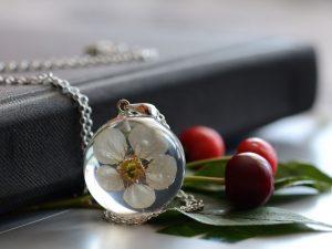Wisior z białym kwiatem wiśni (Prunus sp.)